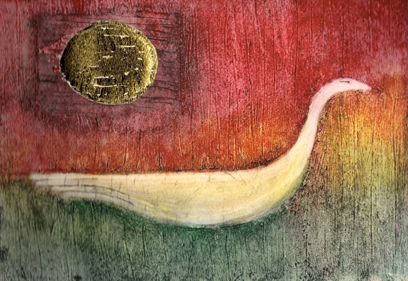 Collagraph print with gold leaf and colour experiment